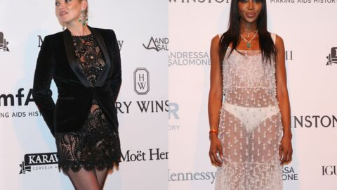 PHOTOS Naomi Campbell presque en culotte, Kate Moss en mini robe transparente au gala de l'amfAR