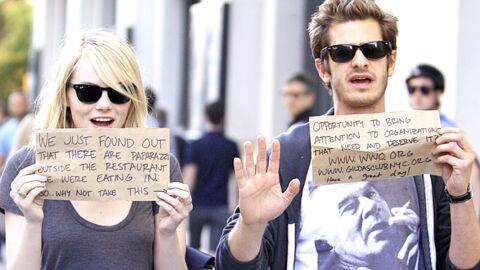 Emma Stone et Andrew Garfield s'amusent avec les photographes