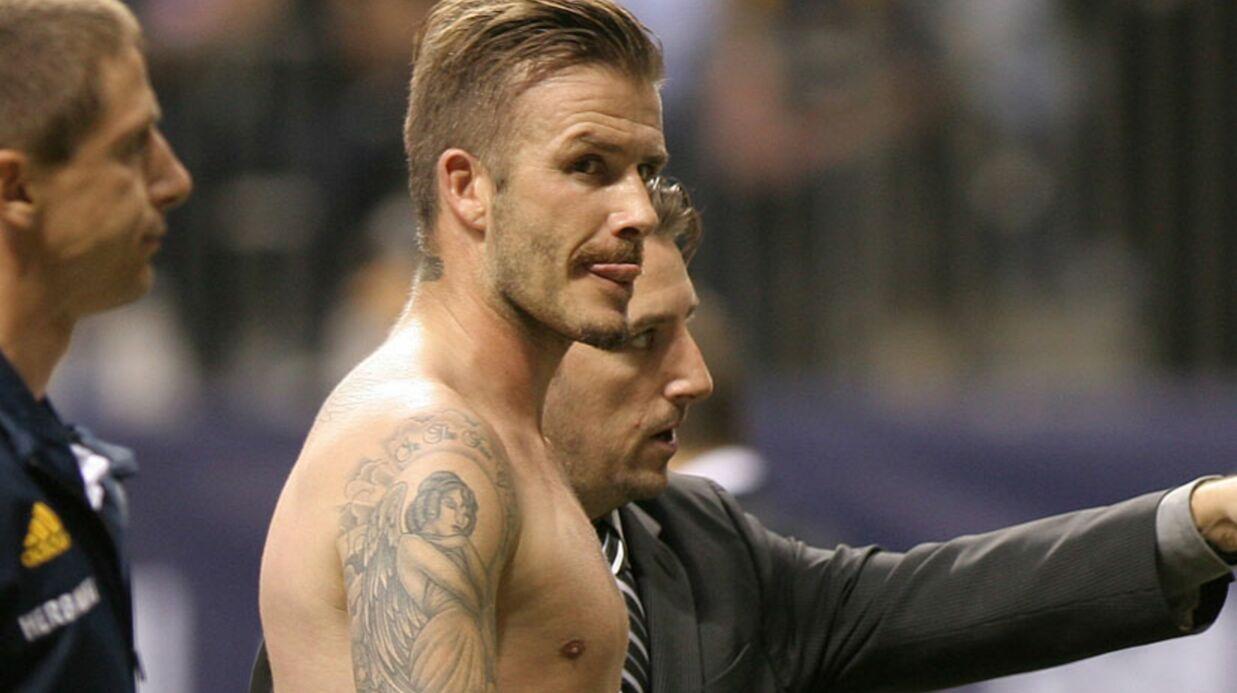 PHOTOS David Beckham torse nu après un match de foot