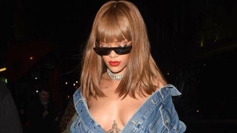 PHOTOS Rihanna: sa poitrine prend l'air dans sa veste en jean