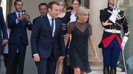 PHOTOS Brigitte Macron: sa petite robe noire transparente et élégante pour une réception à l'Elysée