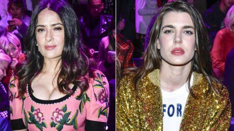 PHOTOS Salma Hayek TRES décolletée, Charlotte Casiraghi complice avec Jared Leto au défilé Gucci