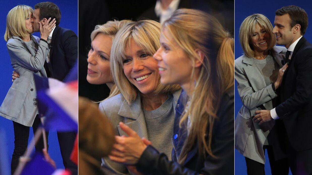 PHOTOS Emmanuel Macron: sa femme Brigitte et ses filles au plus près de lui pour sa victoire au premier tour