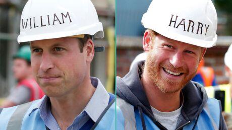 PHOTOS Les princes William et Harry, complices, jouent les ouvriers sur un chantier
