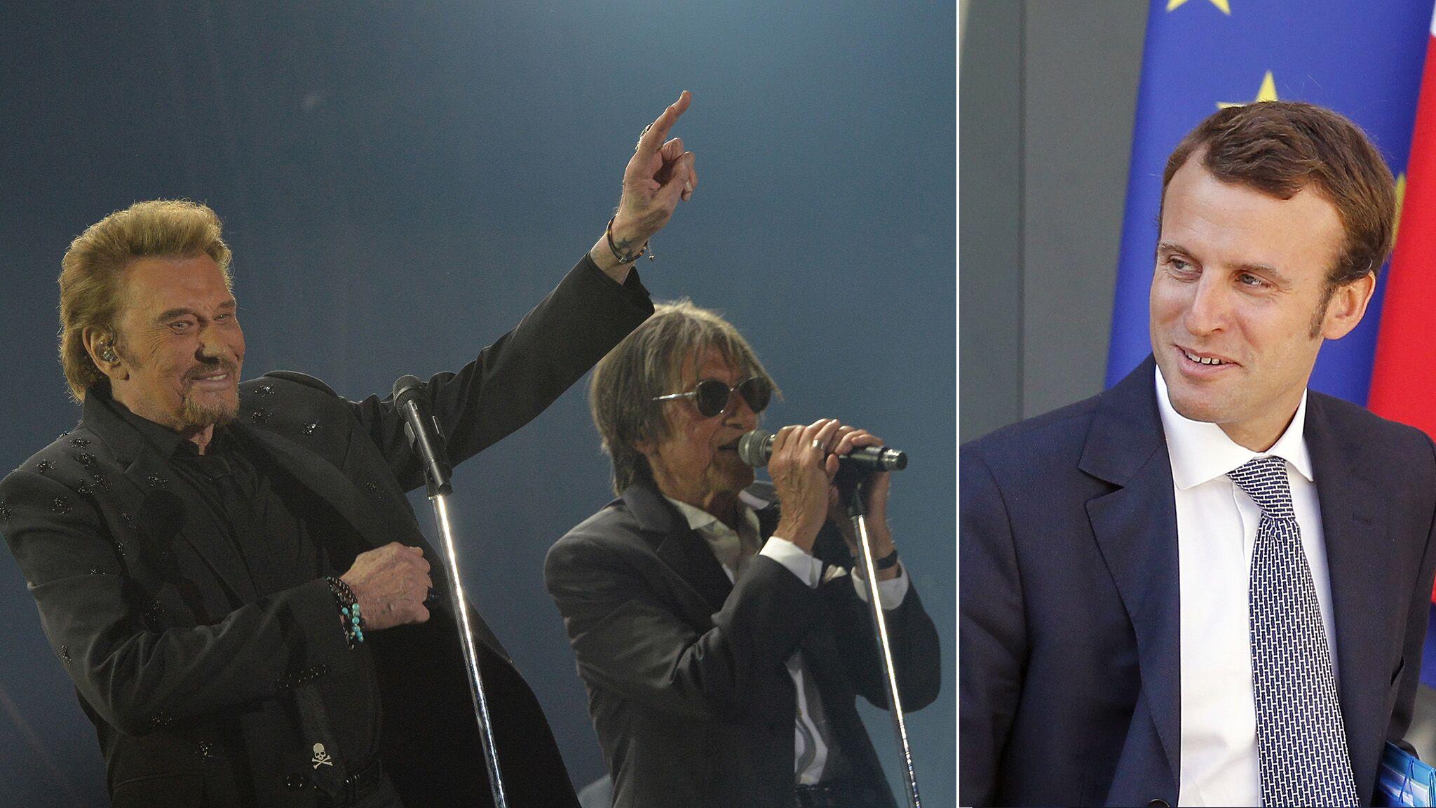 3743b928cb Emmanuel Macron au concert des Vieilles Canailles : Johnny le fait  applaudir - Voici