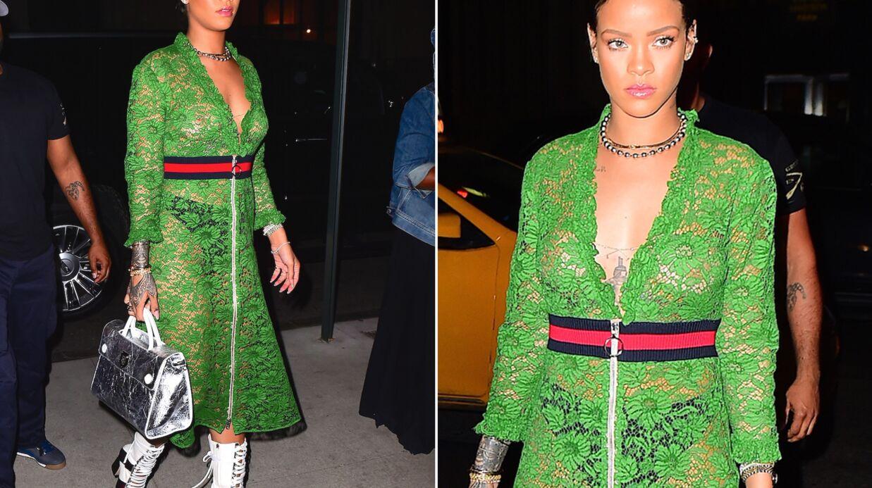 PHOTOS Seins nus sous sa robe en dentelle, Rihanna fait monter la température
