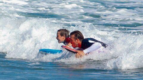 DIAPO David Beckham fait du bodyboard avec ses fils