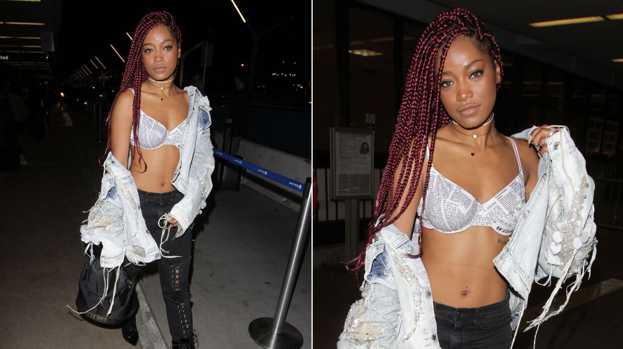 PHOTOS Tranquille, Keke Palmer (Scream Queens) prend l'avion en soutien-gorge