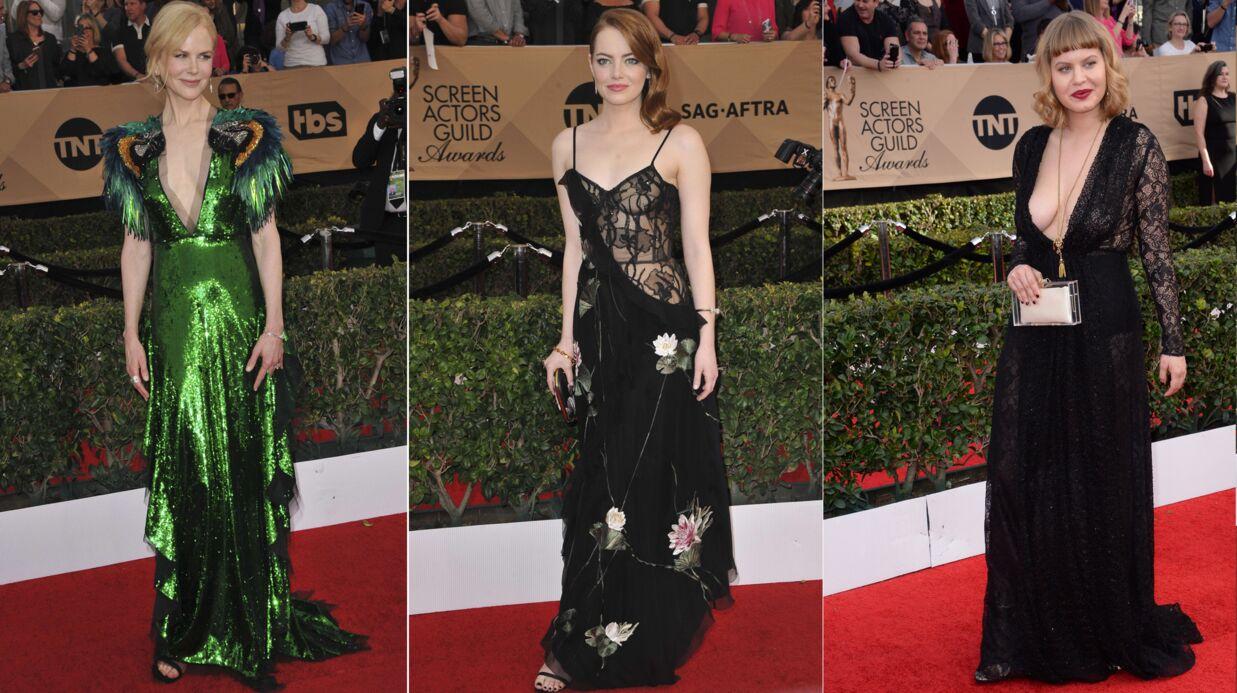 PHOTOS Nicole Kidman ultra décolletée, Emma Stone toute en transparence aux SAG Awards