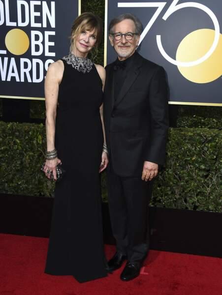 Kate Capshaw et Steven Spielberg lors de la 75e cérémonie des Golden Globes, le 7 janvier 2018