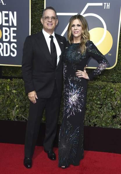 Tom Hanks et Rita Wilson lors de la 75e cérémonie des Golden Globes, le 7 janvier 2018