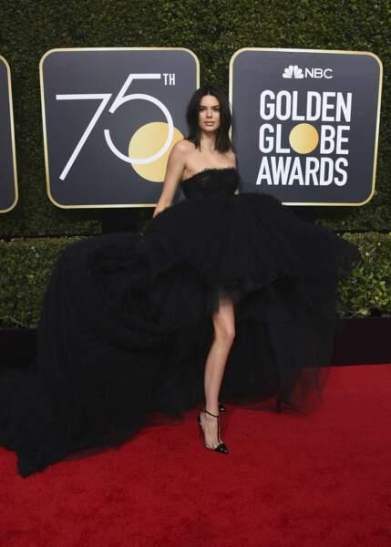 Kendall Jenner en Giambattista Valli lors de la 75e cérémonie des Golden Globes, le 7 janvier 2018