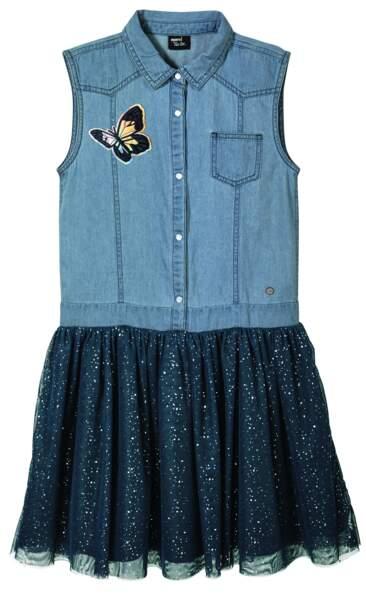 Heidi Klum x Lidl : Robe en jean avec jupe en tutu pour petite fille, de 122 à 164 cm, 9,99 euros