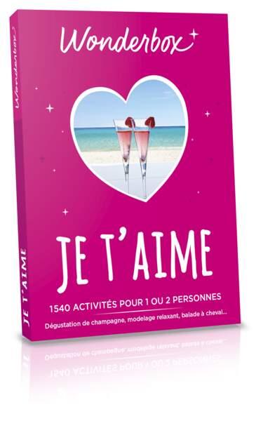 Coffret Je t'aime. 1540 expériences à vivre à deux aux quatre coins de la France, 25€, Wonderbox.
