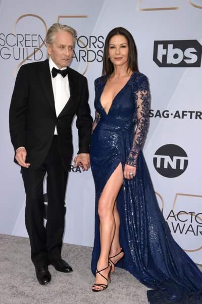 Catherine Zeta-Jones et Michael Douglas aux SAG Awards 2019, le 27 janvier, à Los Angeles