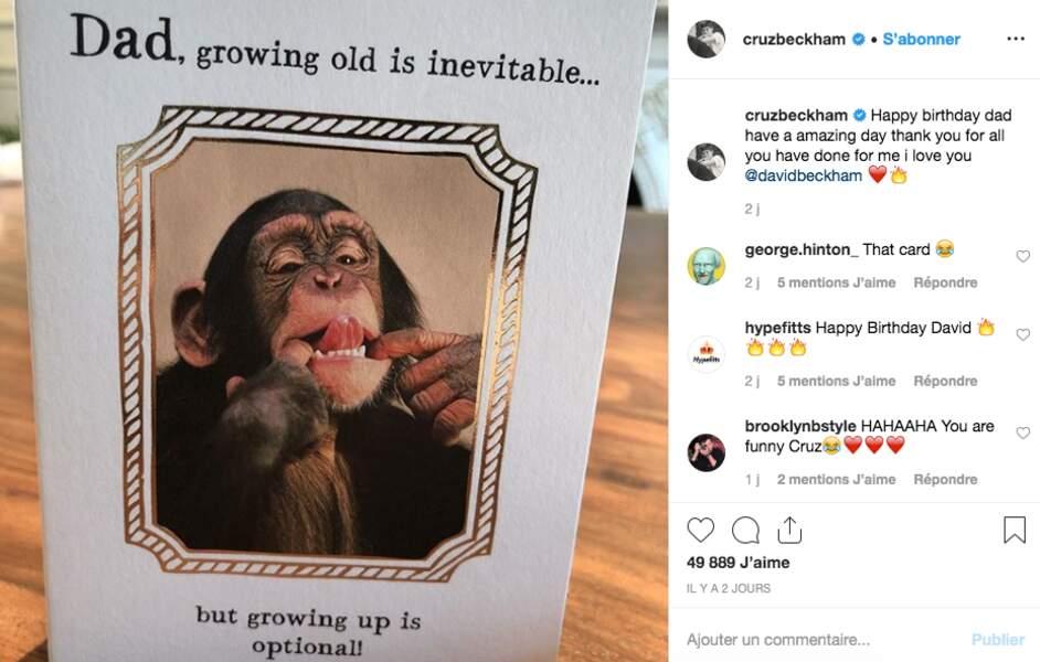 La carte d'anniversaire offerte par Cruz Beckham à son père
