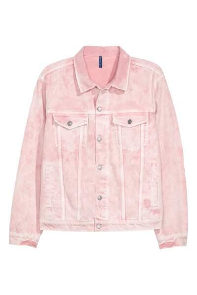 Veste en jean rose poudré, H&M, 49,99 euros