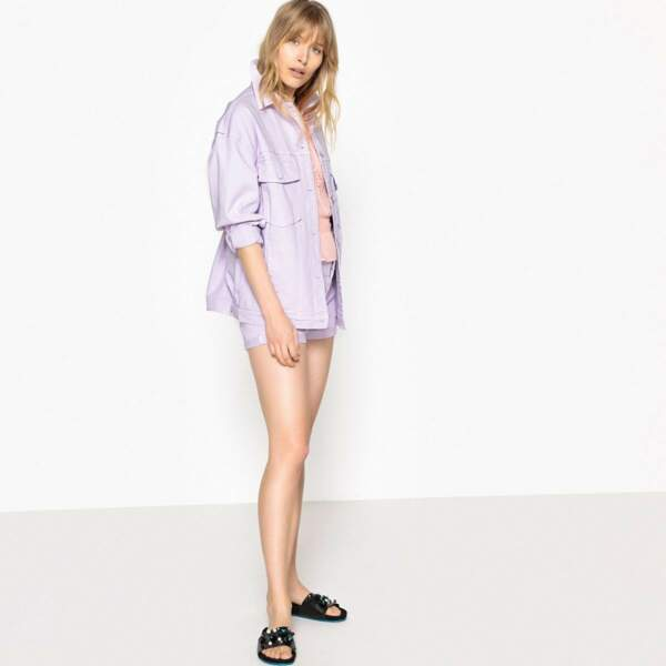 Veste en jean oversize lilas, La Redoute, 35,99 euros