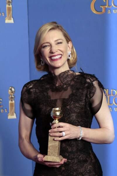71ème Cérémonie des Golden Globes en 2014 : Cate Blanchett en robe Giorgio Armani Privé