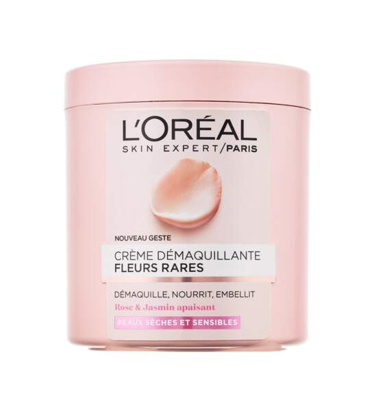 Crème démaquillante aux fleurs rares, L'Oréal Paris, 5,90€. On aime : sa texture crémeuse et apaisante