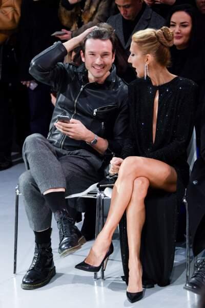 Céline Dion et Pepe Muñoz rieurs et très proches pendant la Fashion Week parisienne de 2019