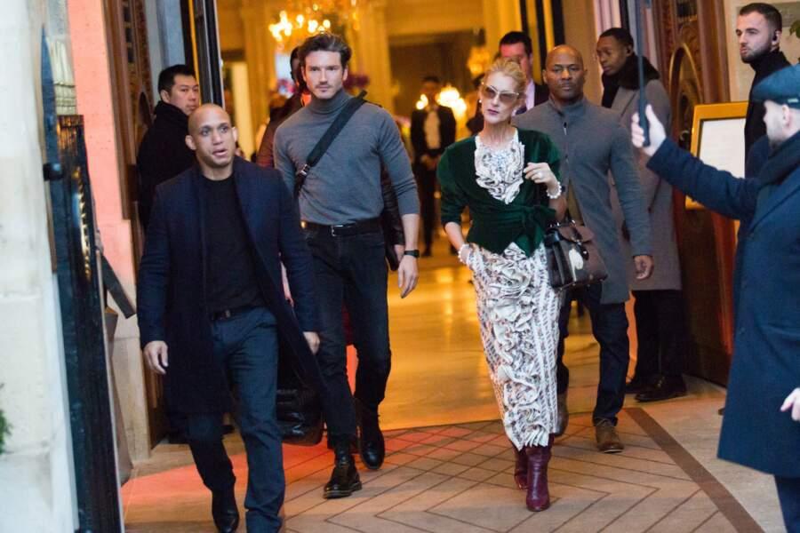 Céline Dion et Pepe Munoz en route pour les bureaux de la Alexandre Vauthier