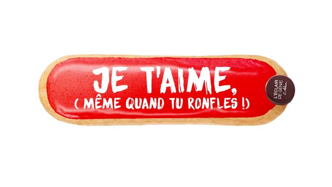 Éclair Je t'aime. Crème passion et cœur framboise, 6€, L'Éclair de Génie.