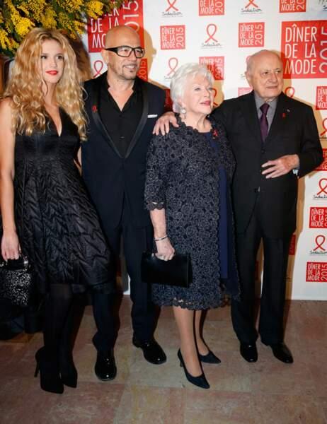Pascal Obispo avec sa compagne Julie Hantson ; Pierre Bergé et Line Renaud