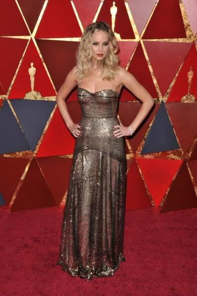 Jennifer Lawrence à la 90e cérémonie des Oscars, à Los Angeles le 4 mars 2018