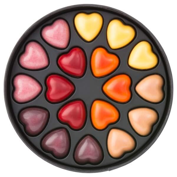 Coffret de chocolats. Collection 18 cœurs (6 parfums), 19€, Pierre Marcolini.
