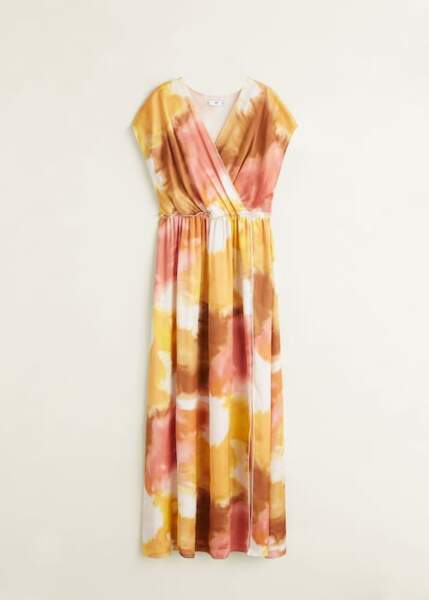 Robe longue imprimé tie and dye, Mango, 99,99€