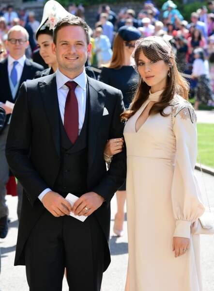 Patrick J. Adams de Suits et sa femme Troian Bellisario au mariage d'Harry et Meghan