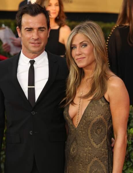 L'actrice était venue accompagnée de son fiancé Justin Theroux