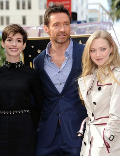Hugh Jackman, anne Hathaway et Amanda Seyfried