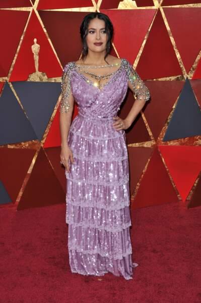 Salma Hayek à la 90e cérémonie des Oscars, à Los Angeles le 4 mars 2018