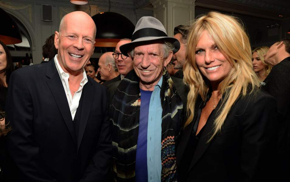 Bruce Willis, le guitariste des Stones Keith Richards et son épouse Patti Hansen