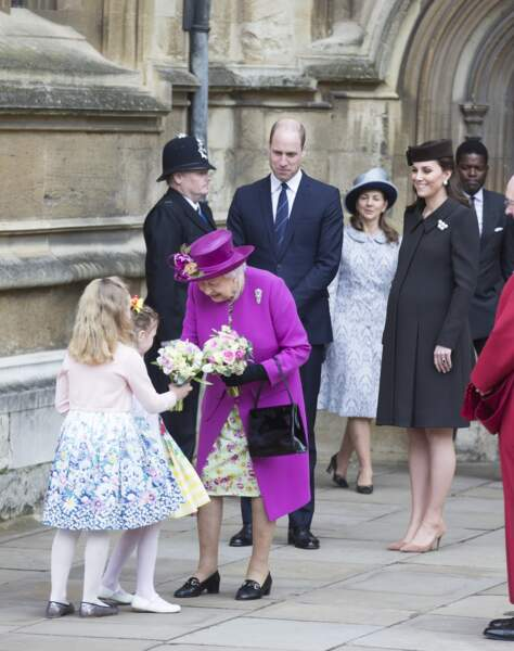 La reine Elizabeth, le prince William et Kate Middleton