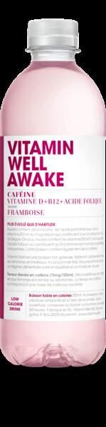 Boisson goût framboise avec caféine, vitamine D + B12 + Acide Folique, Vitamin Well Awake, 2 euros