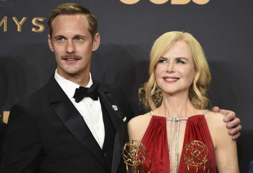 Emmy Awards 2017 : Alexander Skarsgard et Nicole Kidman sur le tapis rouge pour Big Little Lies
