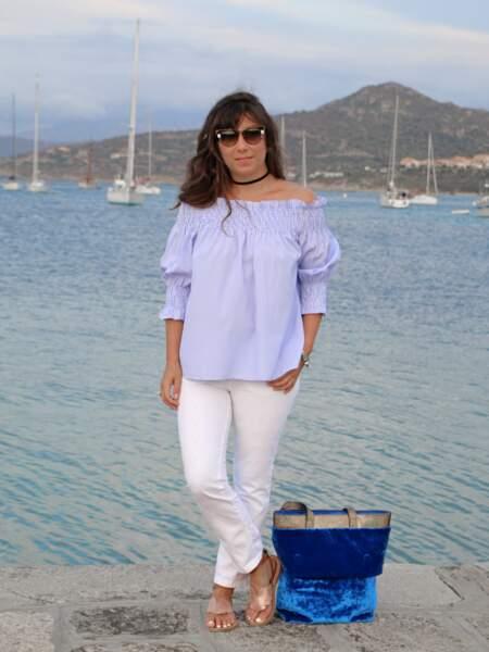 Marieluvpink en blouse Shein & jean IKKS