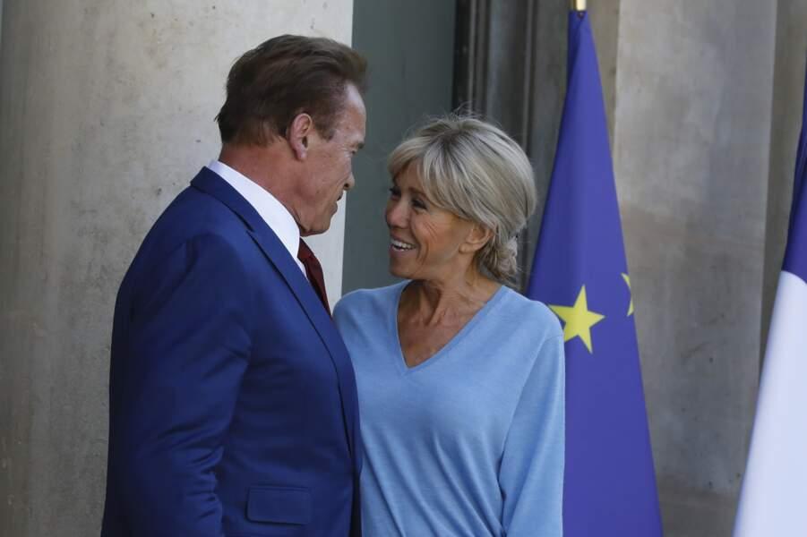 Arnold Schwarzenegger et Brigitte Macron