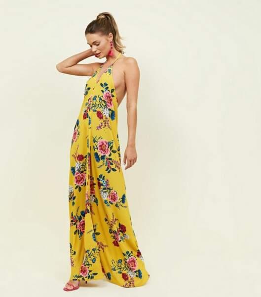 Robe longue jaune à fleurs, Newlook, 29,99€
