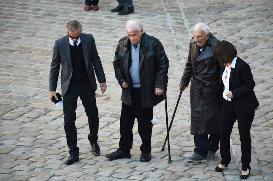 Paul Belmondo, Jean-Paul Belmondo et Charles Gerard à l'hommage national à Charles Aznavour