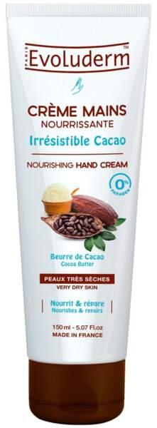 Crème pour les mains nourrissante au beurre de cacao, Evoluderm, 2,50€