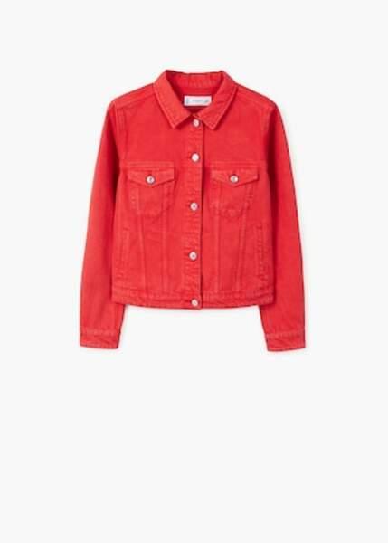 Veste en jean rouge, Mango, 35,99 euros