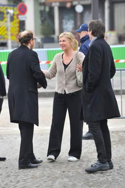 Marius, Michèle Laroque et Pierre Palmade, à l'enterrement de Véronique Colucci