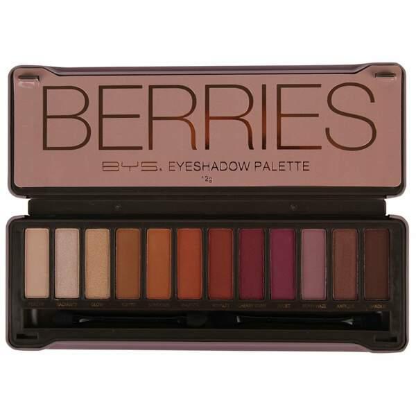 Notre sélection de palettes à petit prix : BYS maquillage, Berries, 12 euros