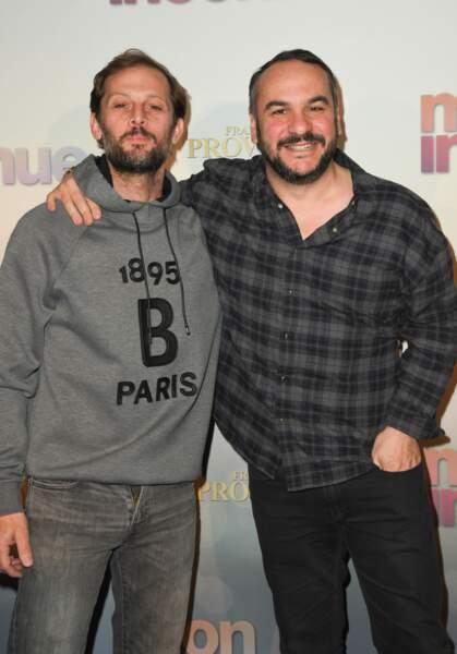 Nicolas Duvauchelle et François-Xavier Demaison à l'avant-première de Mon Inconnue, le 1er avril, à Paris