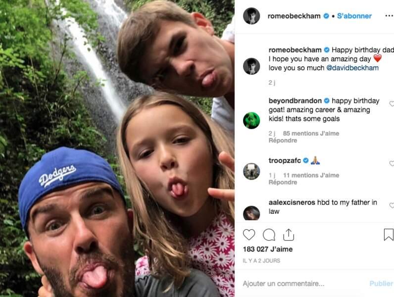 David, Harper et Roméo Beckham
