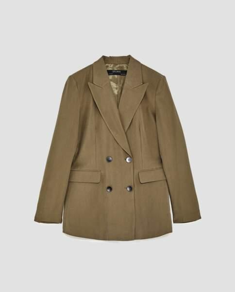 Zara : Veste à double boutonnage croisée kaki, 19,99 euros au lieu de 39,95 euros